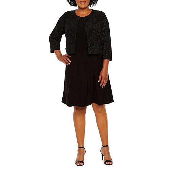Perceptions Long Sleeve Glitter Jacket Dress - Plus