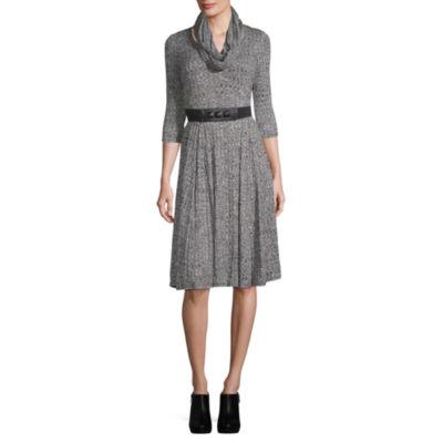 Robbie Bee 3/4 Sleeve A-Line Dress-Petite