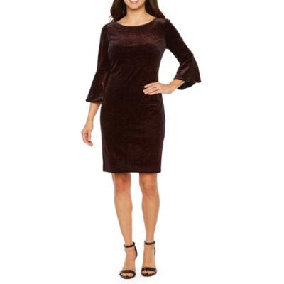 Jessica Howard 3/4 Bell Sleeve Velvet Shift Dress