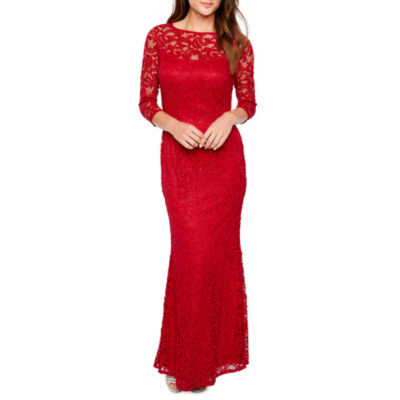 Blu Sage 3/4 Sleeve Evening Gown