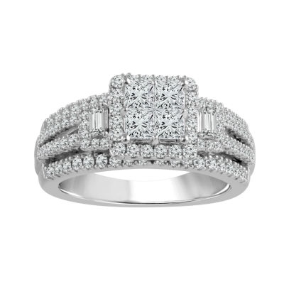 Womens 1 1/3 CT. T.W. Genuine White Diamond 14K White Gold Engagement Ring