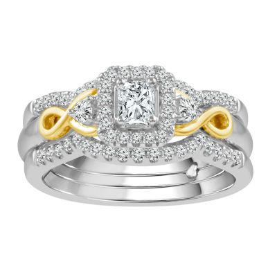 Womens 5/8 CT. T.W. Genuine White Diamond 10K Two Tone Gold Bridal Set