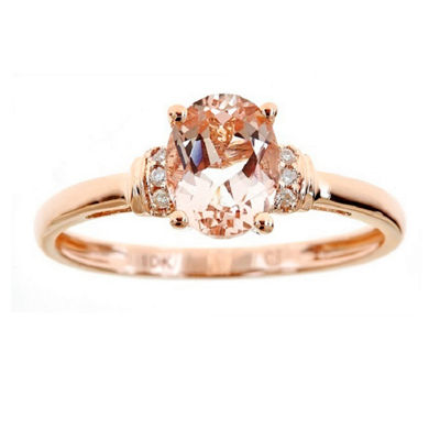 Womens Diamond Accent Genuine Pink Morganite 10K Rose Gold Cocktail Ring
