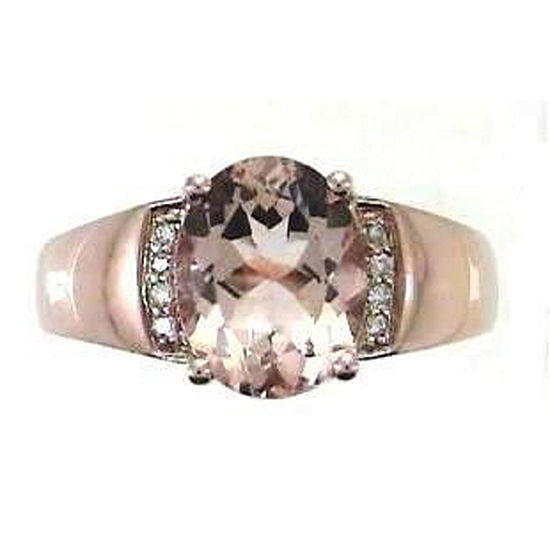 Limited Quantities Womens Diamond Accent Genuine Pink Morganite 10k Rose Gold Cocktail Ring