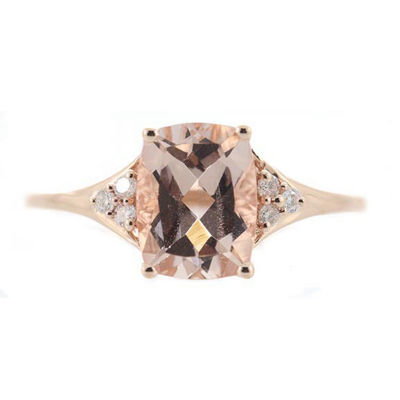 Womens 1/10 CT. T.W. Genuine Pink Morganite 14K Rose Gold Cocktail Ring