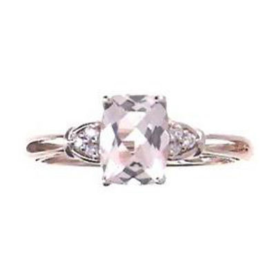 Womens Diamond Accent Pink Morganite 14K Gold Cocktail Ring