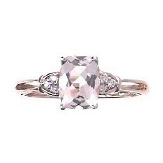 LIMITED QUANTITIES! Womens Diamond Accent Genuine Pink Morganite 14K Rose Gold Cocktail Ring
