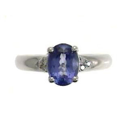 Womens Diamond Accent Genuine Blue Tanzanite Sterling Silver Cocktail Ring