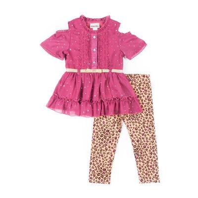 Little Lass 2-pc Sparkle Legging Set- Baby Girls