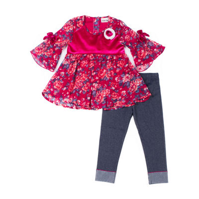 Little Lass 2-pc.Chiffon Legging Set- Baby Girls
