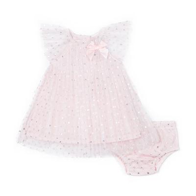 Little Lass Short Sleeve Pink Pleated Dress - Baby Girls