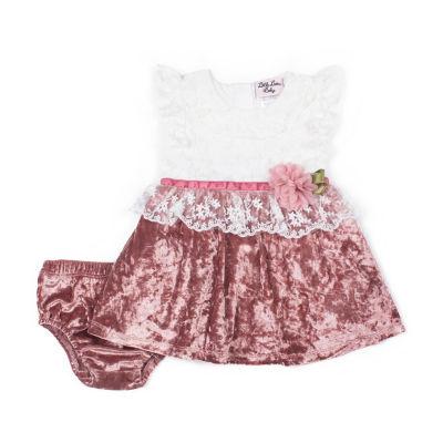 Little Lass Short Sleeve Velvet Dress - Baby Girls