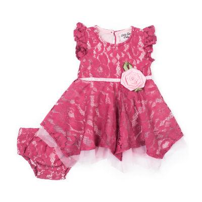 Little Lass Short Sleeve Pattern A-Line Dress - Baby Girls