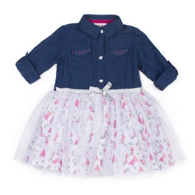 Little Lass Long Sleeve Unicorn Heart Dress - Baby Girls