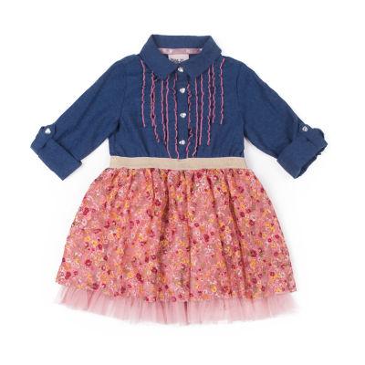 Little Lass Long Sleeve Floral Denim Dress - Baby Girls