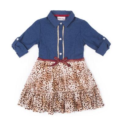 Little Lass Long Sleeve Leopard Dress - Baby Girls