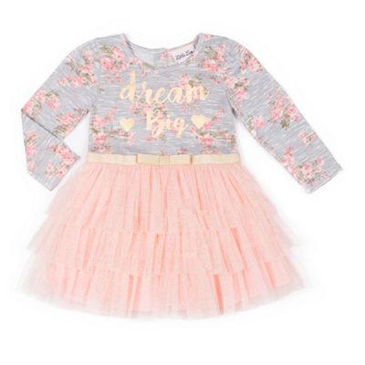 Little Lass Long Sleeve Pattern A Line Dress Baby Girls Jcpenney