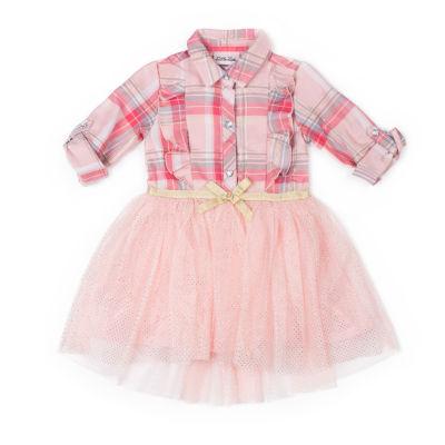 Little Lass Long Sleeve Hi-Low Plaid Dress - Baby Girls