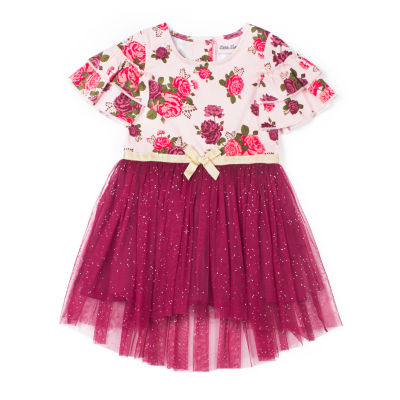 Little Lass Short Sleeve Hi-Low Rose Dress - Baby Girls