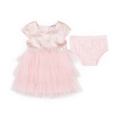 Little Lass Short Sleeve Tulle Dress - Baby Girls