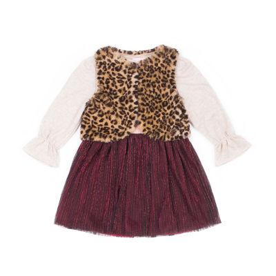 Little Lass Long Sleeve 2pc Pleated Fur Dress Set - Baby Girls