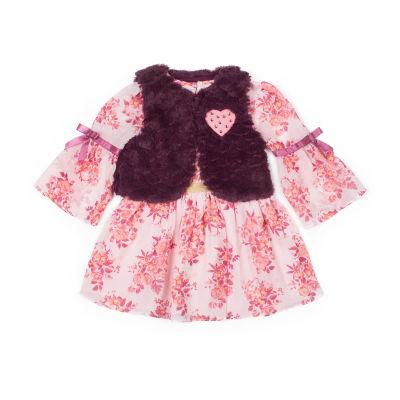 Little Lass Elbow Sleeve Pattern A-Line Dress - Baby Girls