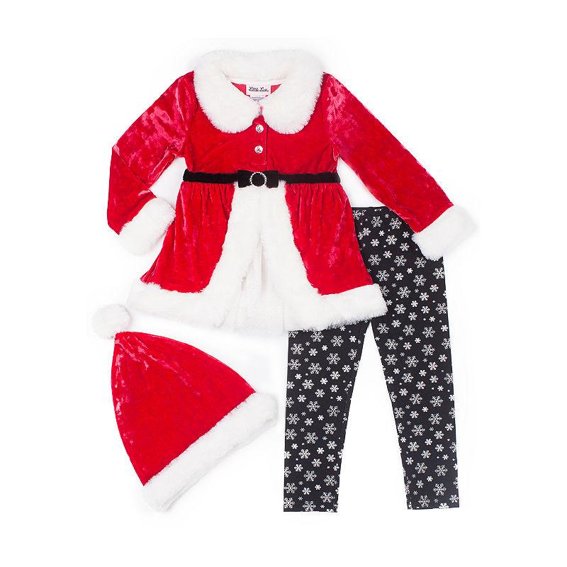 Little Lass 2-pc. Fleece Santa Legging Set-Baby Girls