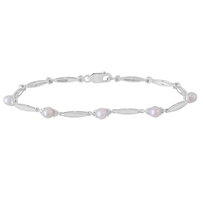 Diamond Accent White Cultured Freshwater Pearl Sterling Silver 7 Inch Tennis Bracelet