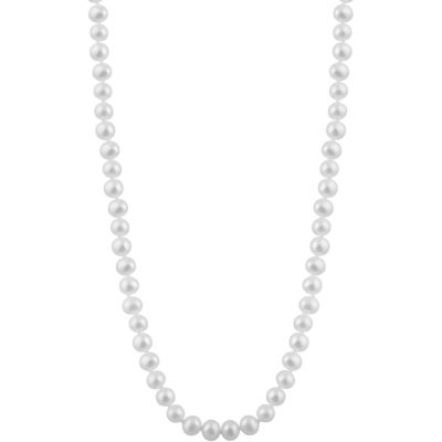Womens 5MM White Cultured Freshwater Pearl Strand Necklace