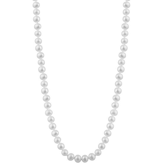 Womens 6MM White Cultured Freshwater Pearl Strand Necklace