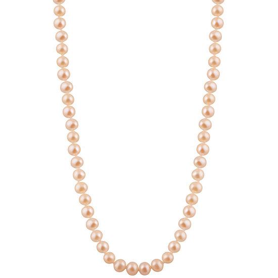 Womens 6MM Pink Cultured Freshwater Pearl Strand Necklace