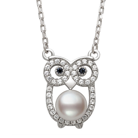 Owl Womens Genuine White Cultured Freshwater Pearl Sterling Silver Pendant Necklace