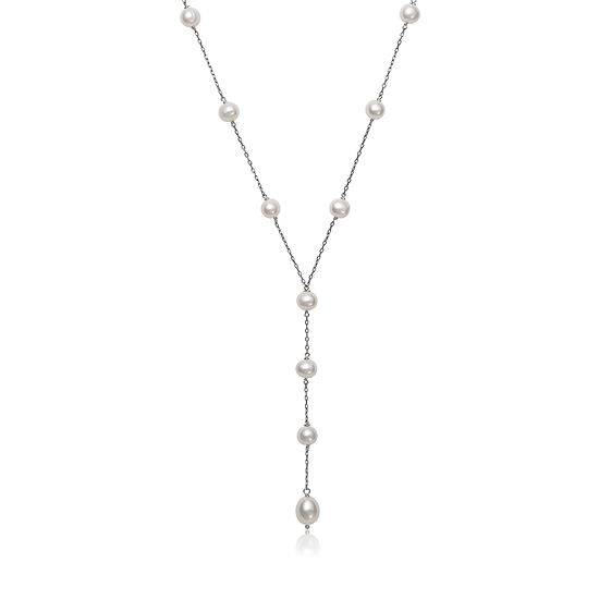 Womens Genuine White Cultured Freshwater Pearl Sterling Silver Y Necklace