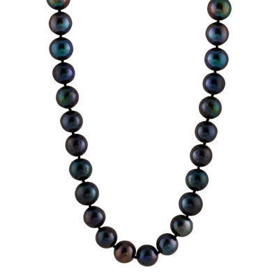 Womens 11MM Black Cultured Freshwater Pearl Strand Necklace