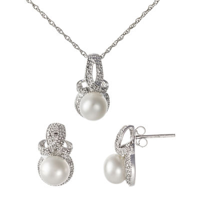 Diamond Accent White Cultured Freshwater Pearl 3-pc. Jewelry Set