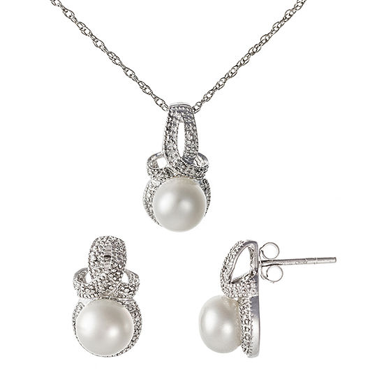 Diamond Accent White Cultured Freshwater Pearl Sterling Silver 3-pc. Jewelry Set