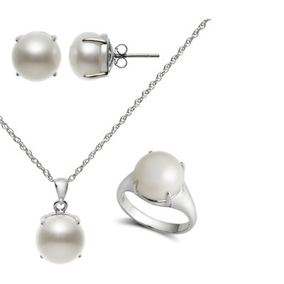 White Cultured Freshwater Pearl Sterling Silver 4-pc. Jewelry Set