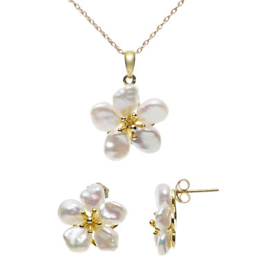 Diamond Accent White Cultured Freshwater Pearl Sterling Silver Flower 3-pc. Jewelry Set