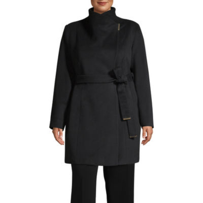 Liz Claiborne Woven Belted Midweight Overcoat Plus