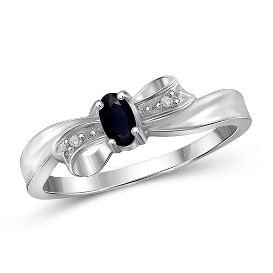 Womens Diamond Accent Genuine Blue Sapphire Sterling Silver Delicate Cocktail Ring