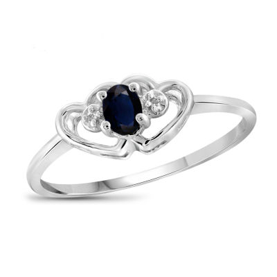 Womens Diamond Accent Blue Sapphire Sterling Silver Heart Delicate Cocktail Ring
