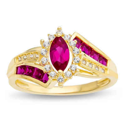 Womens Lab-Created Ruby & White Sapphire 14K Gold Over Silver Cocktail Ring