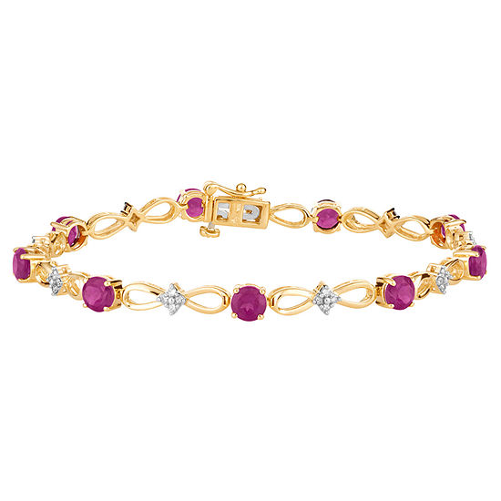 Lab Created Red Ruby 14K Gold Over Silver 7.5 Inch Tennis Bracelet