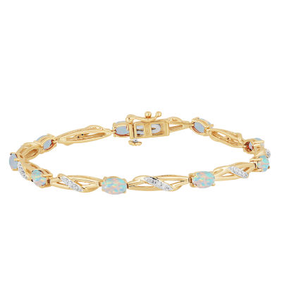 Lab Created White Opal 14K Gold Over Silver 7.5 Inch Tennis Bracelet