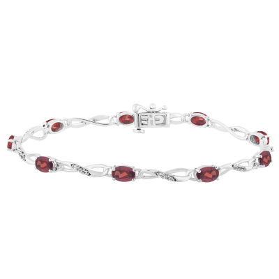 Genuine Red Garnet 7.5 Inch Tennis Bracelet