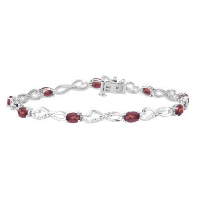 Genuine Red Garnet Sterling Silver 7.5 Inch Tennis Bracelet