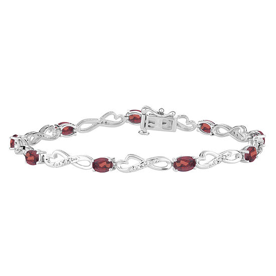 Genuine Red Garnet Sterling Silver 75 Inch Tennis Bracelet