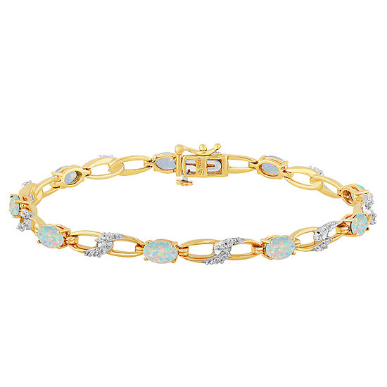 Lab Created White Opal 14k Gold Over Silver 75 Inch Tennis Bracelet