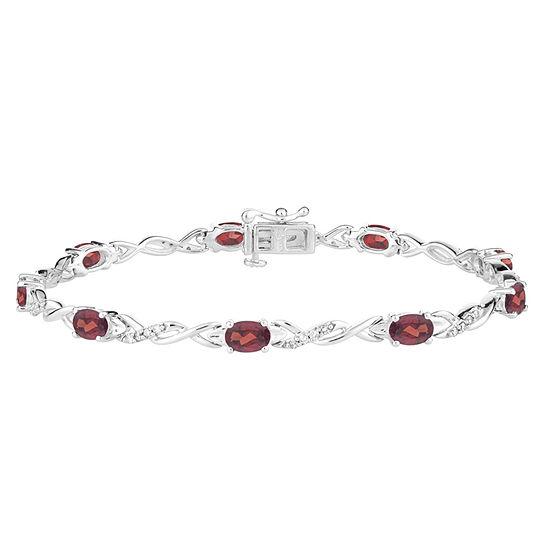 Genuine Red Garnet Sterling Silver 7.5 Inch Tennis Bracelet