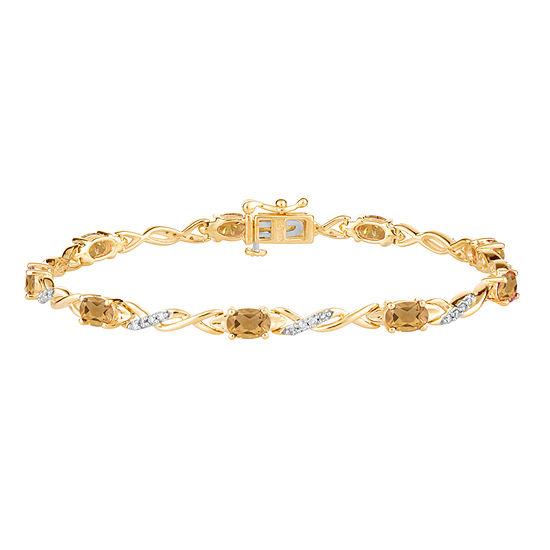 Genuine Yellow Citrine 14K Gold Over Silver 7.5 Inch Tennis Bracelet